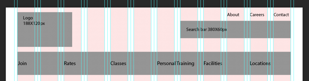 header layout with text